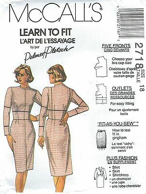 McCall's 2718 Misses' Fitting Shell Dress, Shirt and Skirt   Sewing Pattern