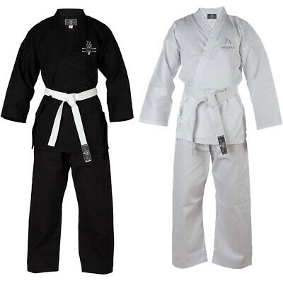 ADULT KIDS KARATE AIKIDO UNIFORM SUITS 8oz WHITE AND BLACK + FREE WHITE BELT