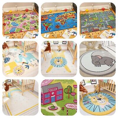 Children's Rugs Town Road Map City Rug Play Village Mat for Kids Boys Girls Gift