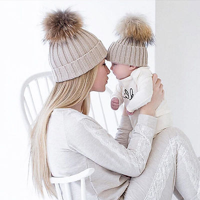 Fur Pom Bobble Hat 2PCS/Set Mom&Kids Baby Boys Girls Winter Warm Knit Beanie Cap