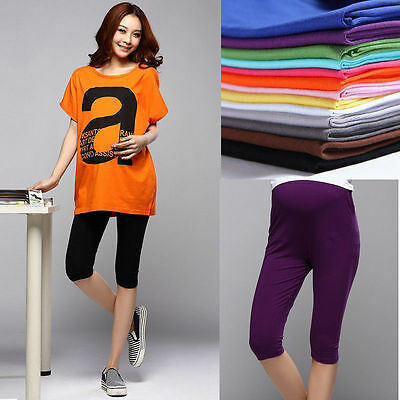 Hot Women Lady Pregnancy Legging 3/4 Length Solid Maternity Cotton Leggings Pant