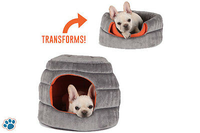 2 Way Use Pet Bed Dog Cat Foldable Sofa Dome Igloo Cave House Pup Kitten Cushion