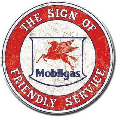 "3"" Round Mobilgas The Sign Of Friendly Service Refrigerator Magnet New"
