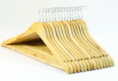 20X Wooden Coat Hangers Suit Garments Clothes Wood Hanger Trouser Bar
