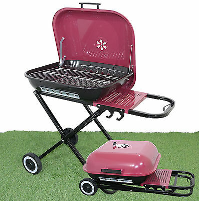 Folding 'jackson' Barbecue Trolley Bbq  Grill Wheels Camping Party Garden Patio