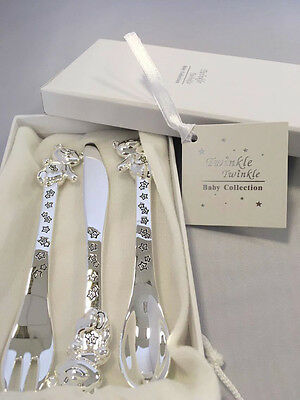 Silver Plated Bear & Stars Cutlery Set Christening Baby Gift Twinkle Twinkle