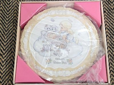 "1994 Enesco Precious Moments Porcelain Velvet Plaque Plate 4"" In Box Bless You"