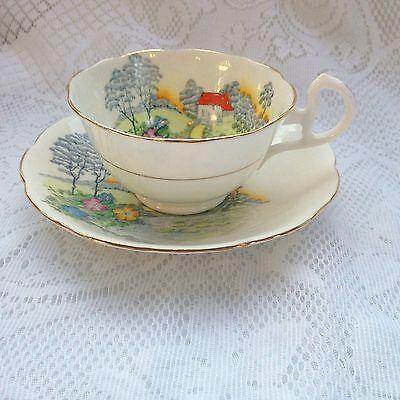 Bell China in England - Country Landscape Tea Cup & Saucer # 3668 (932)