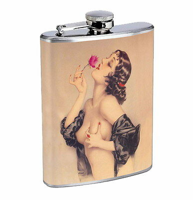 Flask 8oz Stainless Steel Classic Vintage Model Pin Up Girl D 10 Whiskey