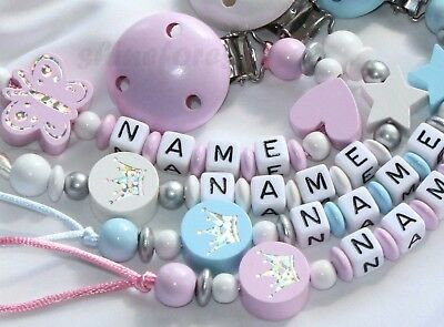 Personalised Dummy Clips for Girls and Boys | Baby Shower or Christening Gift