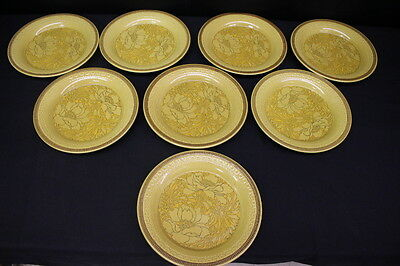 "Set of 8 Vintage Franciscan Earthenware AMAPOLA Mustard/Brown 11"" Dinner Plates"
