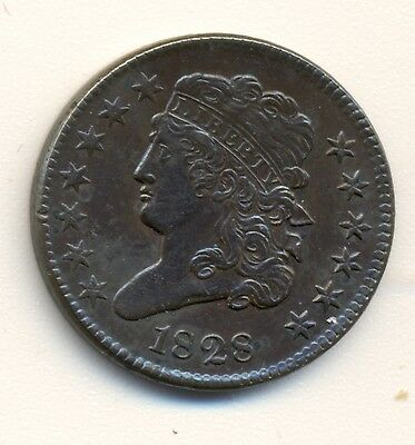 1828 C-3 13 Star CLASSIC HALF CENT CHOICE AU NICE ORIGINAL LUSTRE POPULAR TYPE