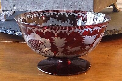Antique Etched Cranberry Glass COMPOTE Pedestal Bowl Deer & Bird Scene - GERMANY