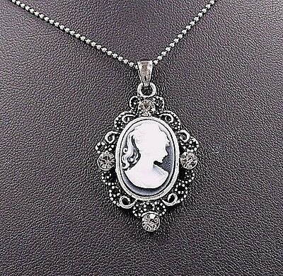 Victorian Lady Style Cameo Crystal Charm Pendant Chain Necklace Grey