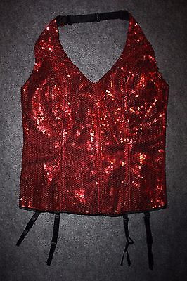 Frederick's of Hollywood SEXY Red Sequin Corset Bustier Halter Top L HOLIDAY