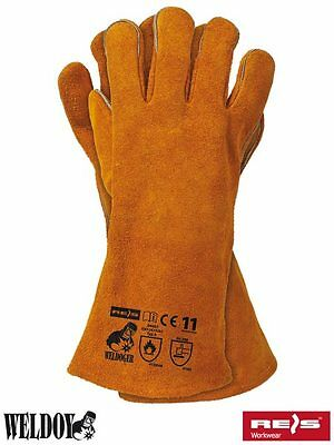 1 Pair KEVLAR STITCHED Welding Gloves High Temp Stove Long Lined Gauntlets