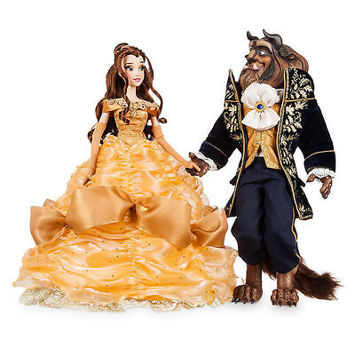 Disney Store Exclusive Beauty And the Beast Platinum Doll Set Limited Edition