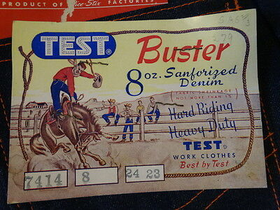 Vtg 50s TEST Buster Cowboy Indigo Denim Lined Pant Jeans Kids 8 25x23 SANFORIZED