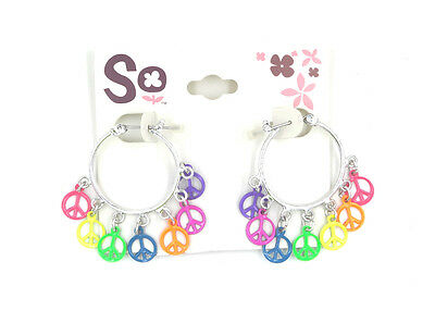e1da7f691 New Pair of Hoop Earrings with Rainbow Colored Peace Signs by SO #E1078