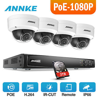 ANNKE 4CH 5MP NVR 3TB Outdoor Home Outdoor POE Security Camera System 3D DNR WDR