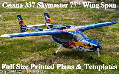 """Cessna 337 Skymaster 77"""" WS Giant Scale RC Airplane PRINTED Plans & Templates"""