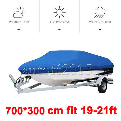 19 20 21FT Waterproof V-Hull Trailerable Fish Ski Bass Boat Cover Beam