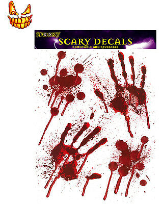 Scary Blood Hands Halloween Window Stickers Decoration Red Decals PVC Party