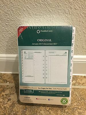 Franklin Covey Original White Tabbed Planner Refill 2 Pages Per Day Classic