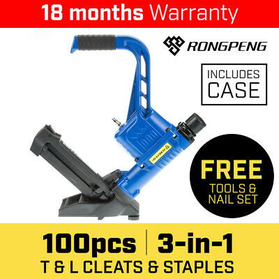 Rongpeng Pneumatic Floor Gun Staple Nail Secret Flooring Nailer Stapler Mallet