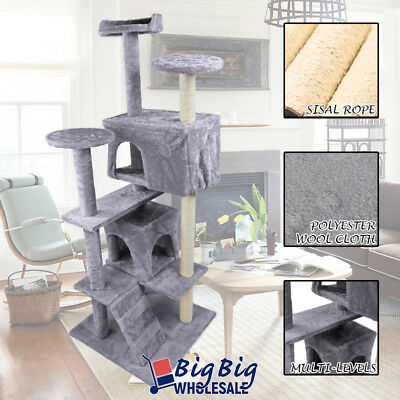 Gray 52'' Cat Tree Tower Condo Play House Pet Scratching Post Kitten Furniture