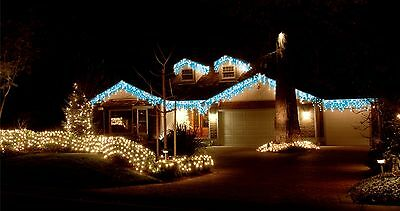 600Led White&blue Icicle Christmas Lights With 8 Functions 14.9M