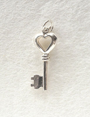 Solid KEY with HEART at top-  traditional 925 sterling silver charm pendant