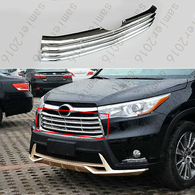 Chrome Front Mesh Grille Grill Insert Cover Trim For Highlander Kluger 2014 2015