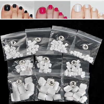 Kit de 500x Blanc Faux ongle Orteil French Nail Art Acrylique Capsule Tips Pied