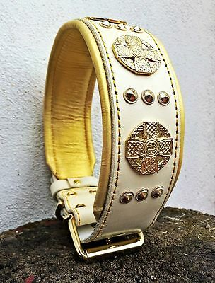 """Bestia """"Maximus"""" genuine leather dog collar. XXL. Large breeds only. 2.5 `` wide"""