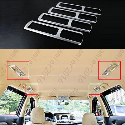 4x CHROME ROOF REAR READING LIGHT LAMP TRIM COVER FOR HIGHLANDER KLUGER 2014-15
