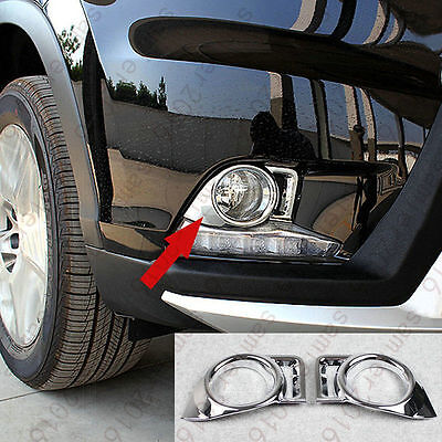 2Pcs Chrome Front Fog Light Cover Trim For Toyota Highlander Kluger 2014-2015