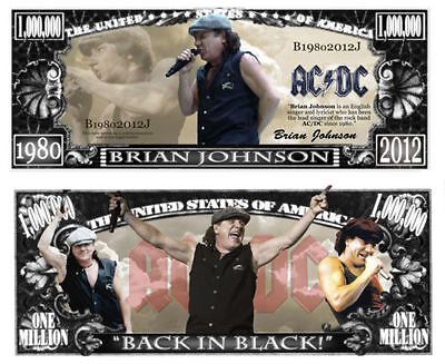 2 Notes Brian Johnson ACDC Novelty Million Dollar Notes New in Protective Sleeve