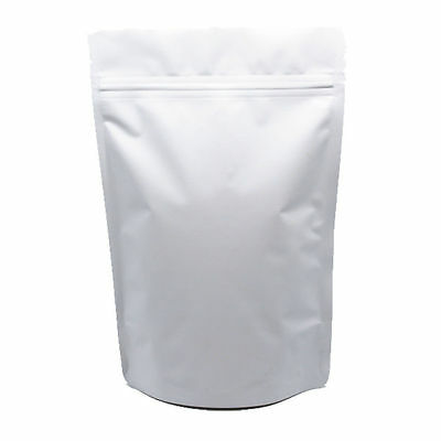 Matte White Stand Up Pure Aluminum Food Bags Pouch Mylar Foil Ziplock Resealable