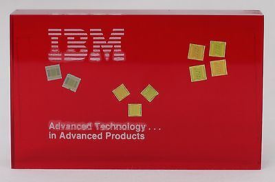 Vintage Retro IBM Computer Lucite Acrylic Paperweight 'Advanced Technology...'