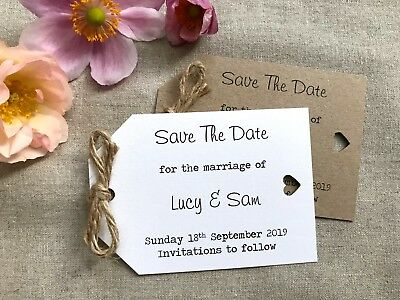 50 Personalised Magnet Save The Date Tags Vintage/Shabby Chic Rustic Wedding