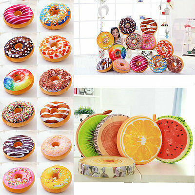 3D Plush Donut Fruit Food Cover Toy Donut Sweet Buns Pillow Cushion Case Only