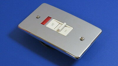 MK Chrome 45A 2G twin Gang Tall Cooker Switch C/W Neon White Inserts K5236 PCR
