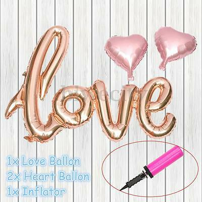1 Set Love Letters Heart Foil Balloon + Inflator Birthday Wedding Party Decor
