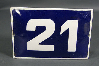 Wwii German Door House Street Porcelain Enamel Tin Sign Plate Plaque Number #21