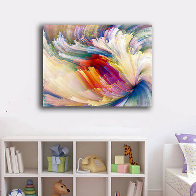 Abstract Rainbow Swirl II Stretched Canvas Print Framed Wall Art Home Decor Gift