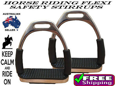 """Horse Riding Stainless Steel Safety Flexi Saddle Stirrup Irons With Treads 5"""""""