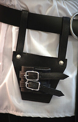 Leather Wear-Reenactment-LARP-Pirate BLACK LEATHER SWORD FROG BUCKLED