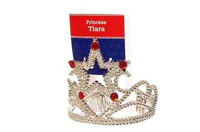 Girls Red Princess Crown Tiara Queen Halloween Costume Accessory Silver Star NEW