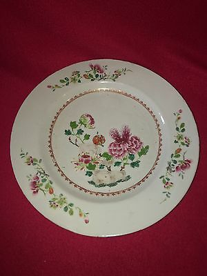 Antique 18th Century Chinese Export Porcelain Famille Rose Charger